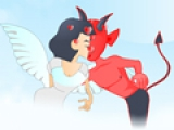Devil and Angel Kissing