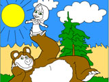 Masha and Bear on a lawn