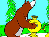 Masha and the Bear put the samovar