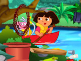 Dora cleaning river