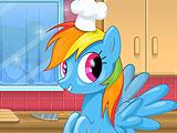 Rainbow Dash Cooking MM Cake