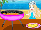 Anna Cooking Beach Burger